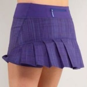 Lululemon Purple Stripe Speed Skirt Pleated Sz 8